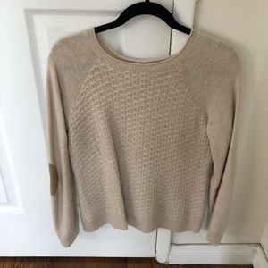 J. Crew cream sweater with elbow patches